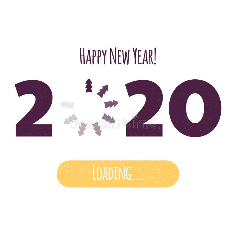 Vector illustration. Happy New Year. Loading 2020. Download screen with Christmas tree. Progress bar. Happy New Year. Loading 2020. Download screen with stock illustration