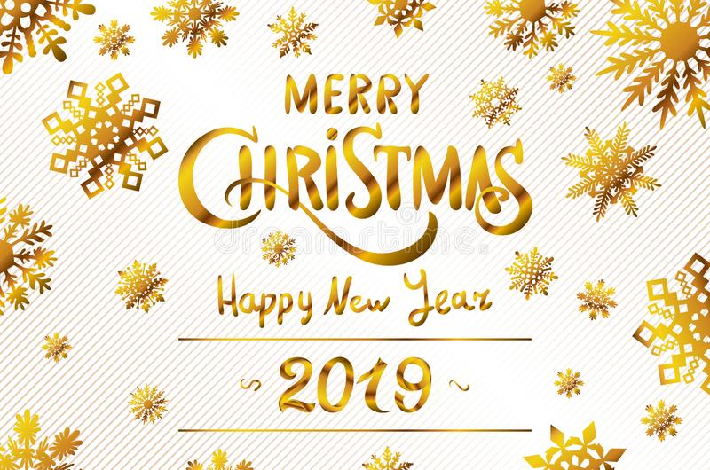 Vector Illustration. 2019 Happy New Year. Numeral text hand lettering. Dry brush texture effect. Merry Christmas. Graduation. royalty free illustration