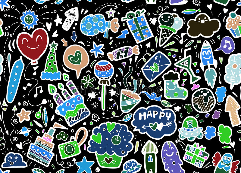 Vector illustration of happy party background,hand drawn happy e royalty free illustration