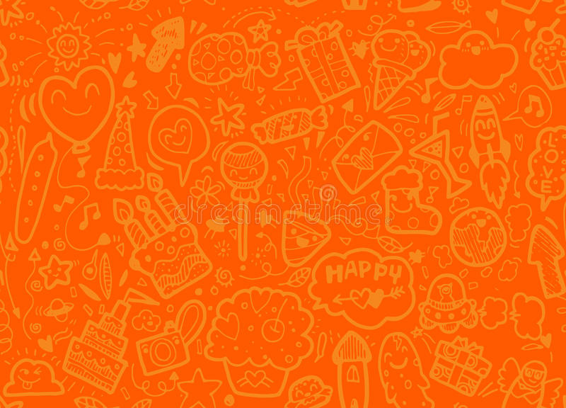 Vector illustration of happy party background,hand drawn happy e stock illustration
