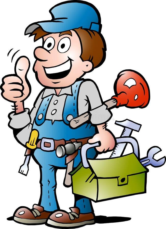 Vector illustration of an happy Plumber stock illustration