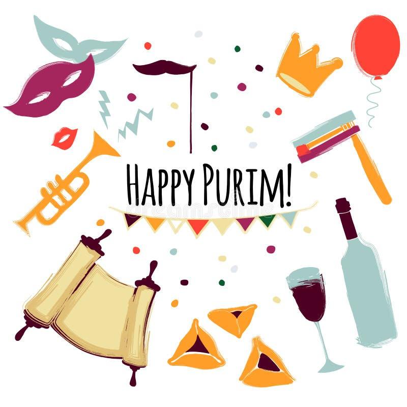 Vector illustration Happy Purim carnival set of design elements vector illustration