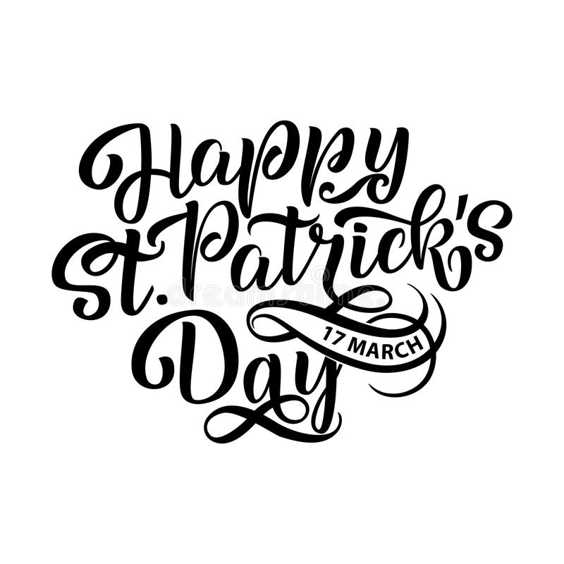 Vector illustration of Happy Saint Patrick s Day logotype. Hand sketched Irish celebration design. Beer festival royalty free illustration