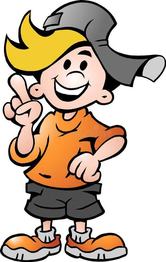Vector illustration of an happy School Boy royalty free illustration