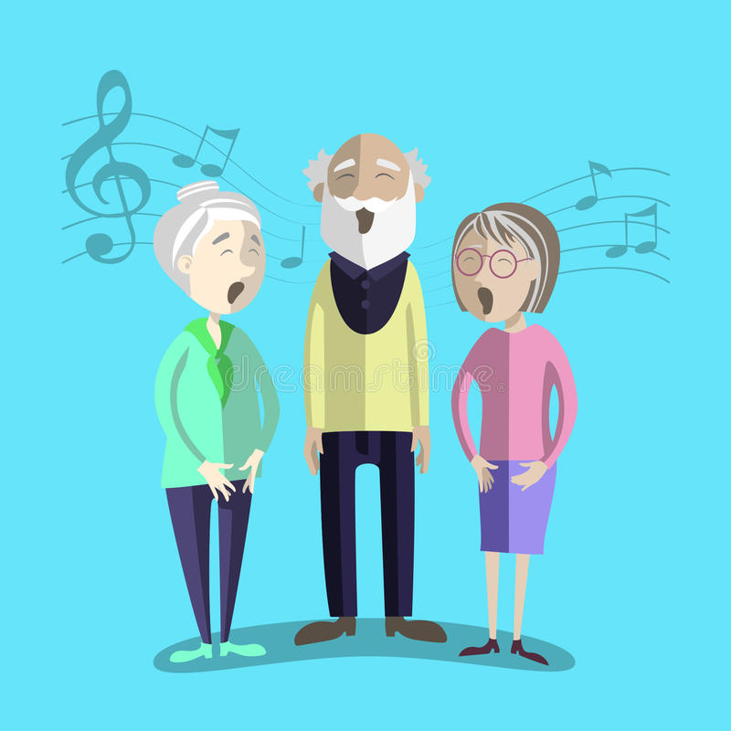 Vector illustration of Happy Senior Citizen sing. Performance of mature people. Elderly activity
