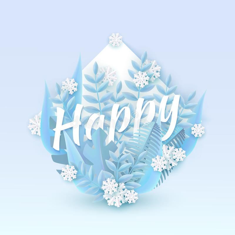 Vector illustration of Happy text winter natural design with blue leaves and white snowflakes around word. Vector illustration of Happy text winter natural vector illustration