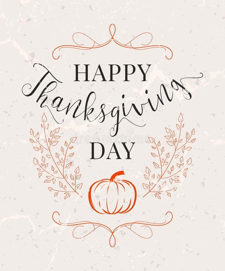 Vector illustration of Happy Thanksgiving Day, autumn vintage design vector illustration