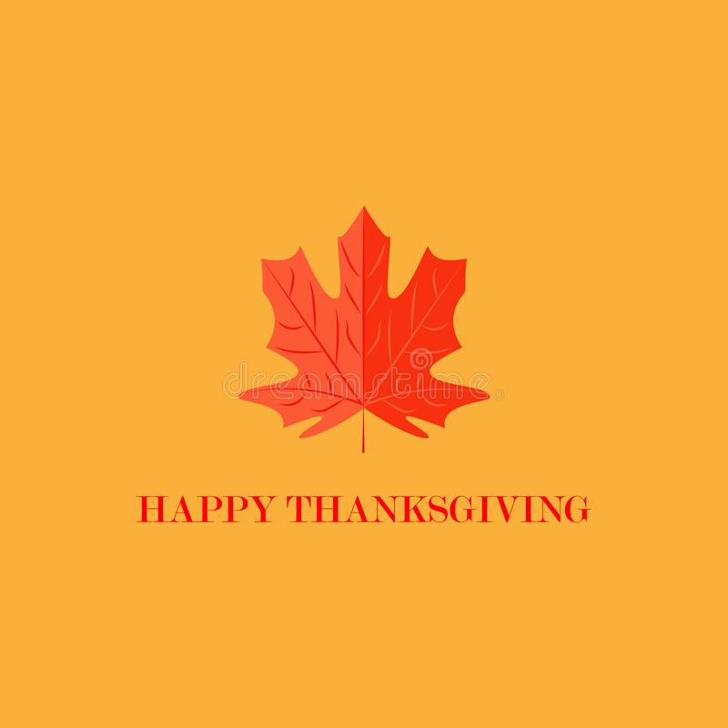 Vector illustration. Happy Thanksgiving lettering typography poster. Maple leaf on color background royalty free illustration