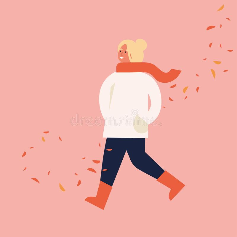 Vector illustration of happy woman in autumn season clothes. Young girl walking surrounded by falling leaves. royalty free illustration