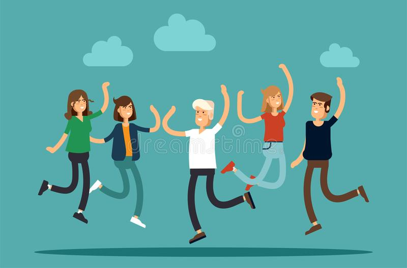 Vector illustration of happy young group of people jumping on a white background. The concept of friendship, emotions royalty free illustration
