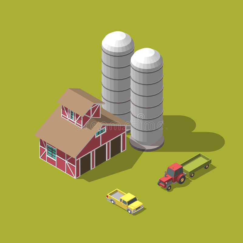Vector illustration. Harvesting wheat. isometric. Ambar tracktor picup set vector illustration