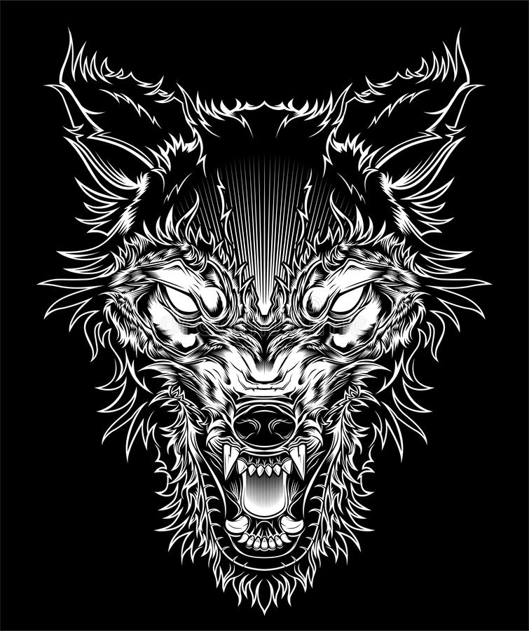 Vector illustration head ferocious wolf, outline silhouette on a black background royalty free illustration