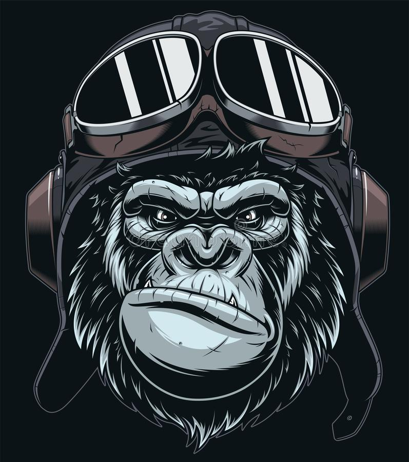 The head of the gorilla in the cap of the pilot stock illustration