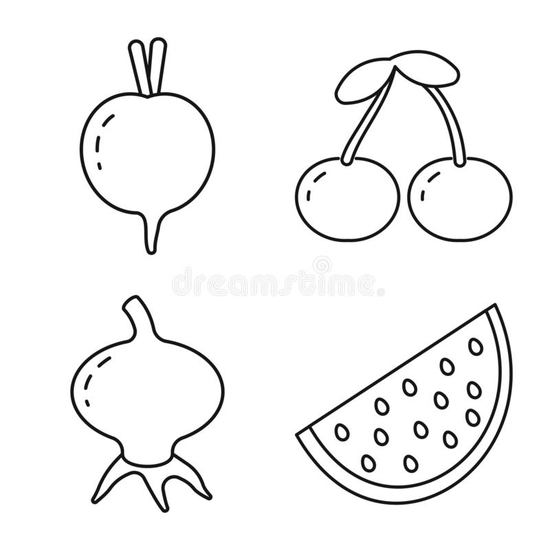 Vector illustration of healthy and ripe icon. Collection of healthy and harvest stock vector illustration. Isolated object of healthy and ripe symbol. Set of royalty free illustration