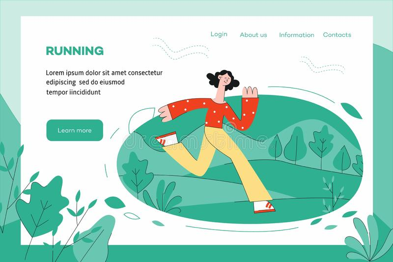 Vector illustration of healthy and sporty lifestyle concept with woman running outdoors. Vector illustration of healthy and sporty lifestyle concept website vector illustration