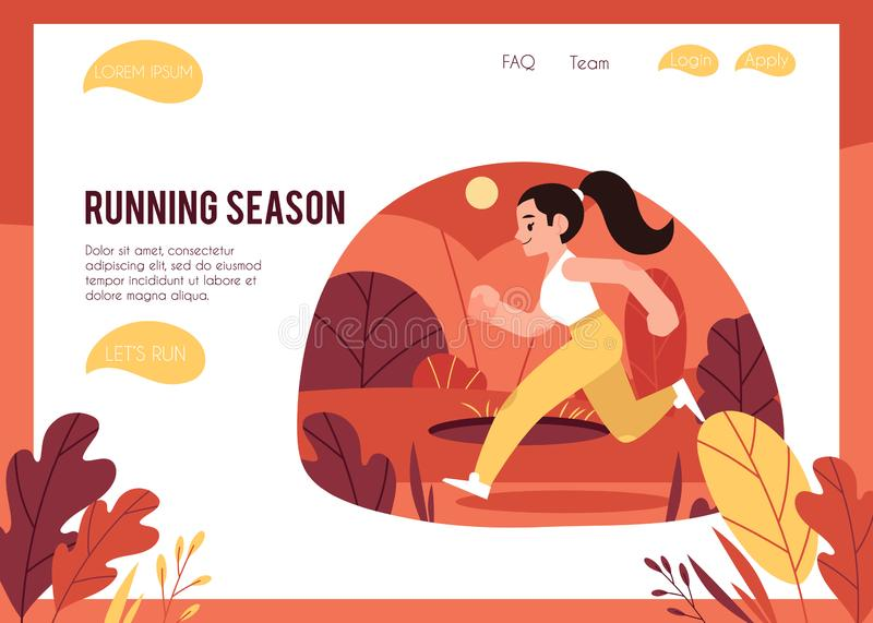 Vector illustration of healthy and sporty lifestyle concept with woman running outdoors in autumn. Vector illustration of healthy and active lifestyle concept vector illustration