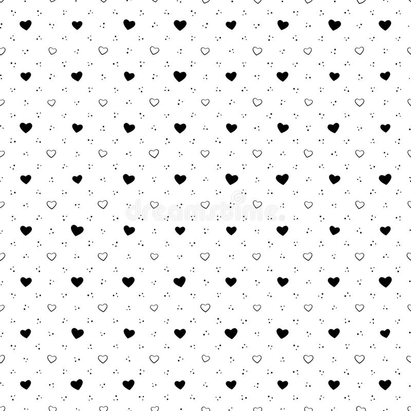 Vector illustration - heart and dot seamless pattern, background stock illustration