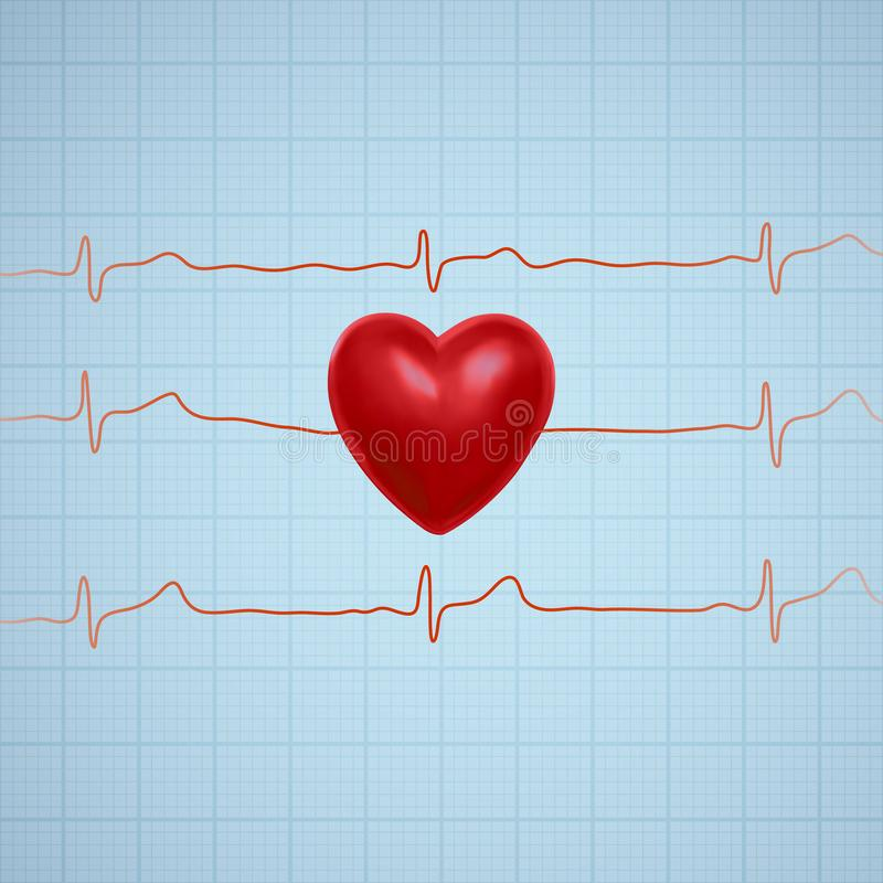 Vector illustration of heart with ecg graph line. Illustration of heart with ecg graph line. Vector eps 10 stock illustration