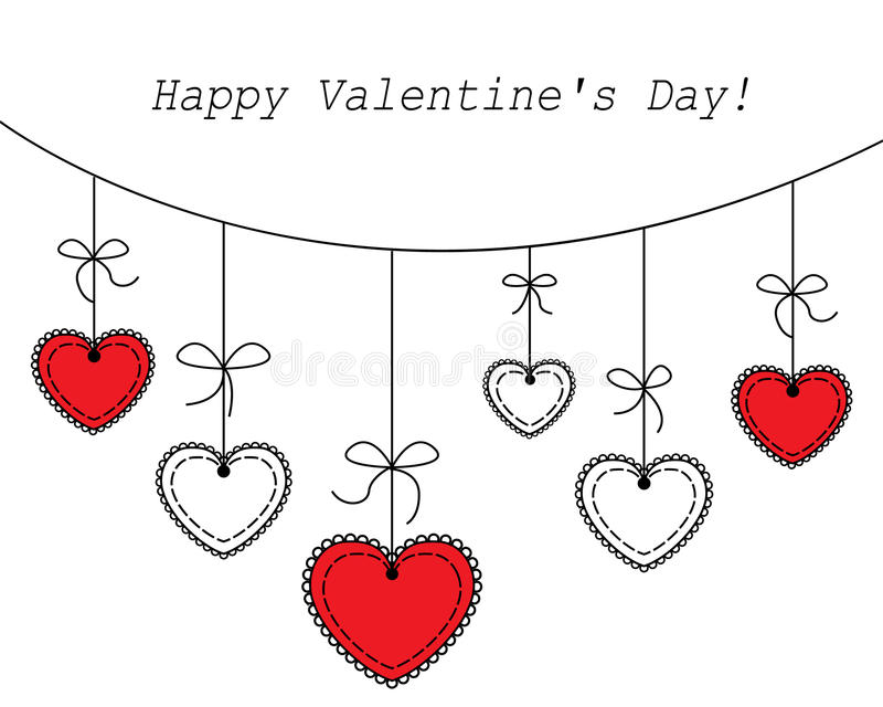 Vector illustration Heart hanging royalty free illustration