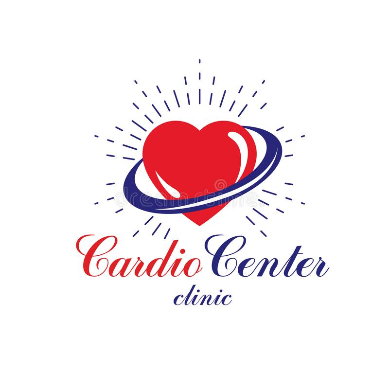 Vector illustration of heart shape. Cardiovascular system diseases prevention conceptual logo. For use in pharmacy vector illustration
