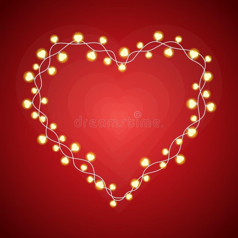Heart Lights Frame. Vector illustration of heart-shaped lightbulbs forming a heart frame stock illustration