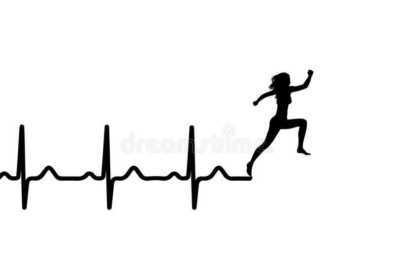Vector illustration of heartbeat electrocardiogram and running woman stock illustration