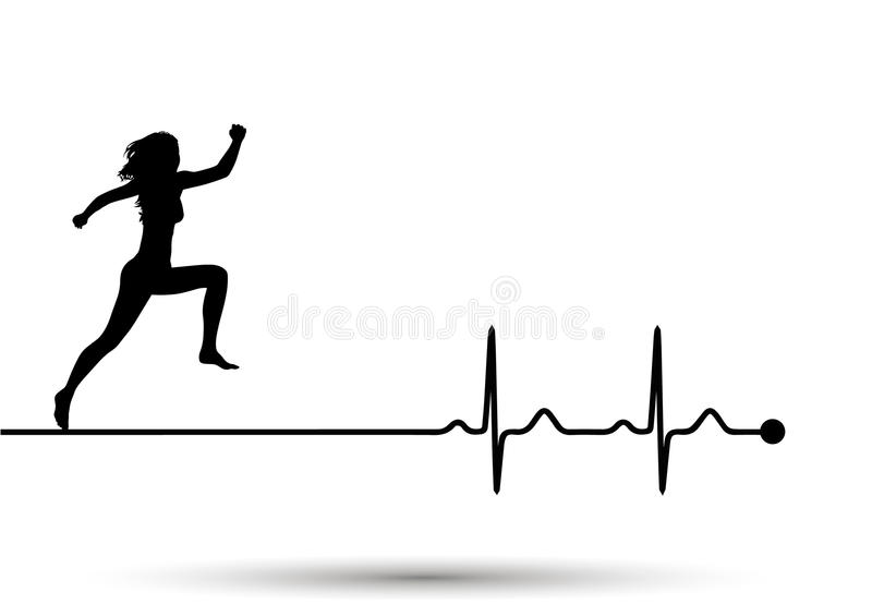 Vector illustration of heartbeat electrocardiogram and running woman royalty free stock photos