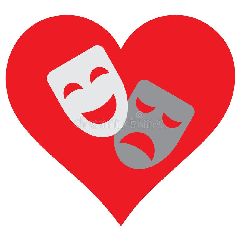 Hearts and masks. I love a theatre. vector illustration