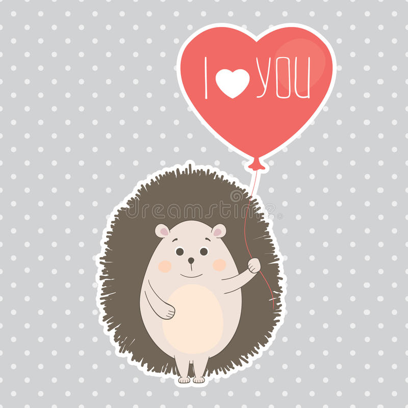 Vector illustration. Hedgehog in love royalty free stock photography