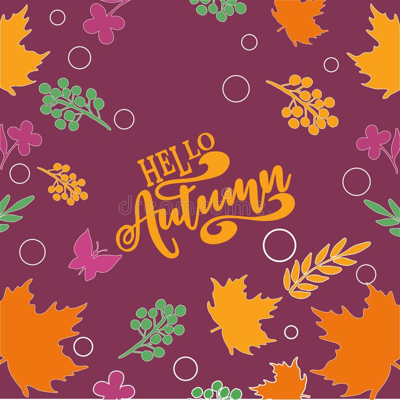 Vector illustration Hello autumn Colorful and vivid composition of text hello autumn and hand-drawn leaves vector illustration