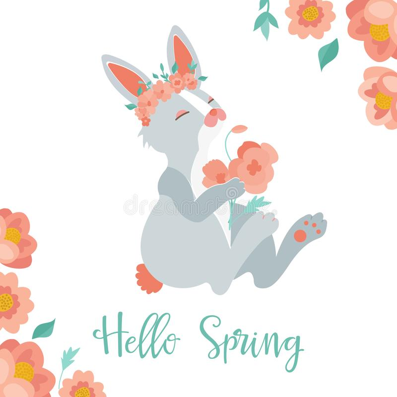 Vector illustration. Hello spring card with rabbit stock photo