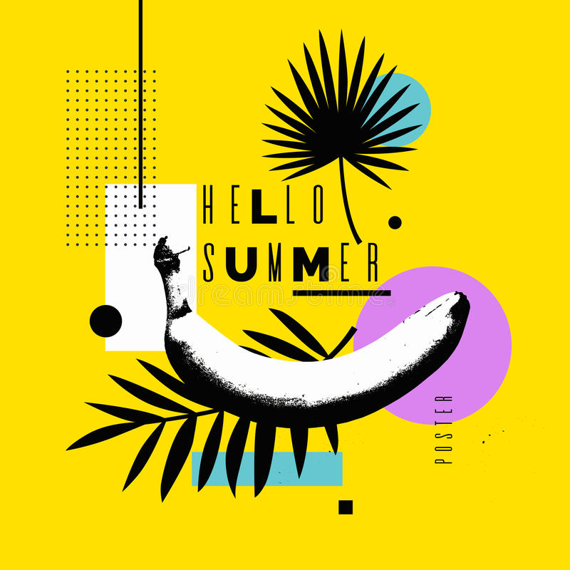 Vector illustration Hello summer. Bright poster with a banana on an abstract background royalty free illustration