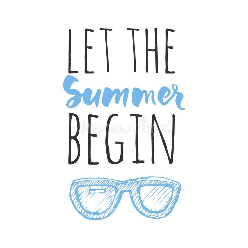 Vector illustration.Hello summer. Happy summer days. Let the summer begin. Summer vector illustration