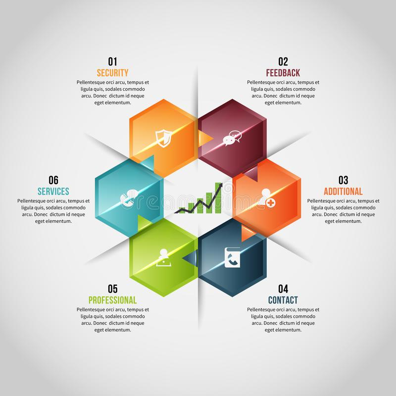 Hexagon Gems Infographic. Vector illustration of Hexagon Gems Infographic design element stock illustration
