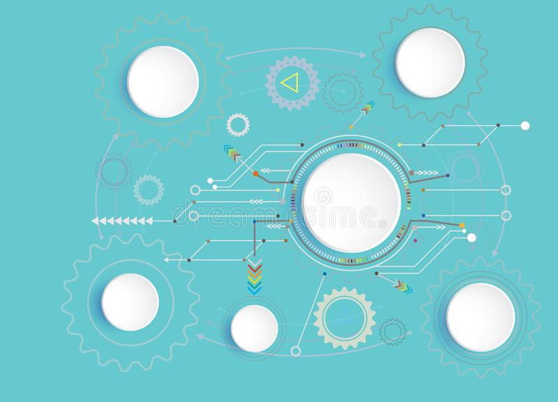 Vector illustration Hi-tech digital and engineering telecoms technology concept. For infographic a business plan concept, diagram, flowchart, steps, parts stock illustration