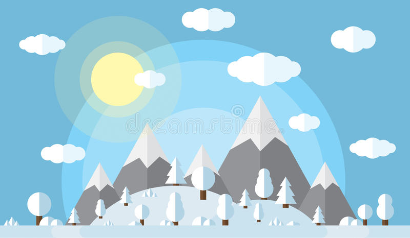 Vector illustration of the high mountains and hills, the forest covered in snow, clear winter day, the sun in the clear. Sky with fluffy clouds royalty free illustration