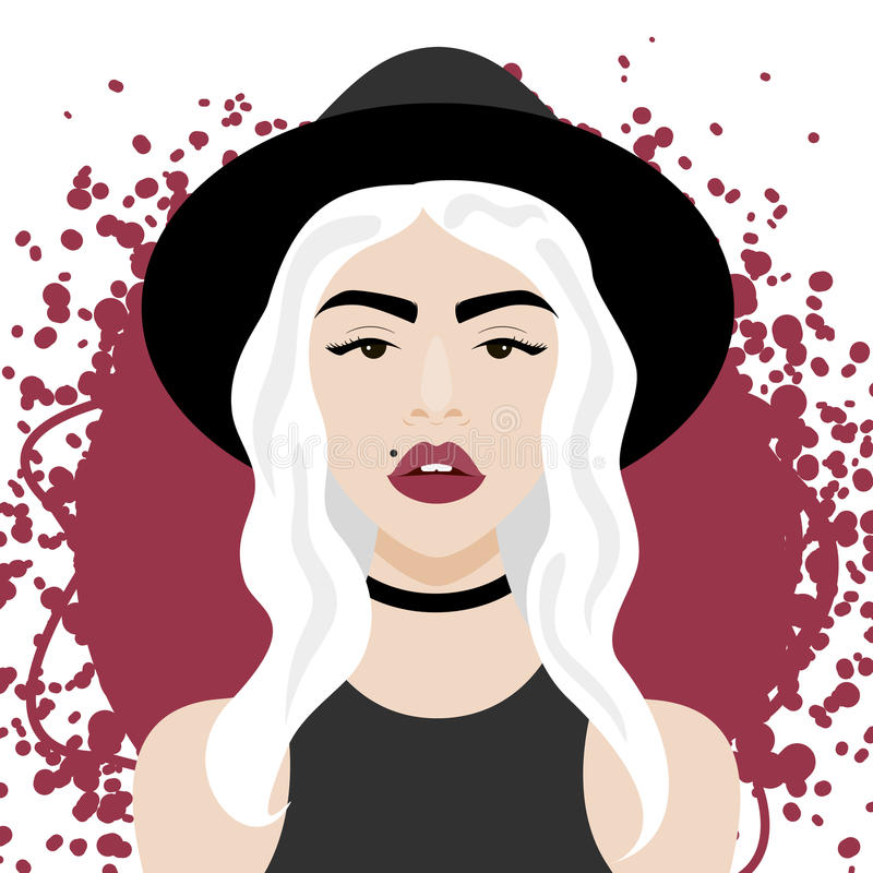Vector illustration with hipster girl, geek glasses, hat in flat style. Vector illustration with hipster girl, choker, hat in flat style. Website avatar or royalty free illustration