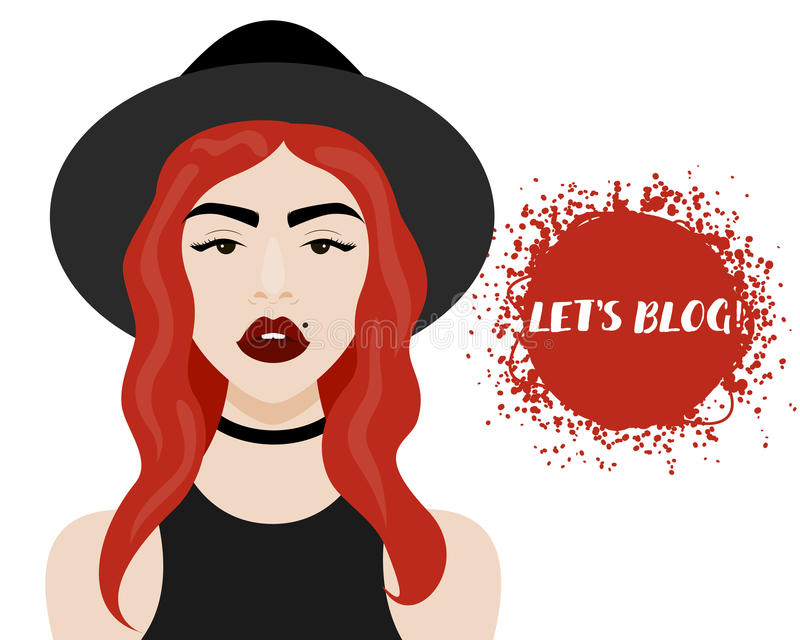 Vector illustration with hipster girl, geek glasses, hat in flat style. Vector illustration with hipster girl, choker, hat in flat style. Website avatar or vector illustration