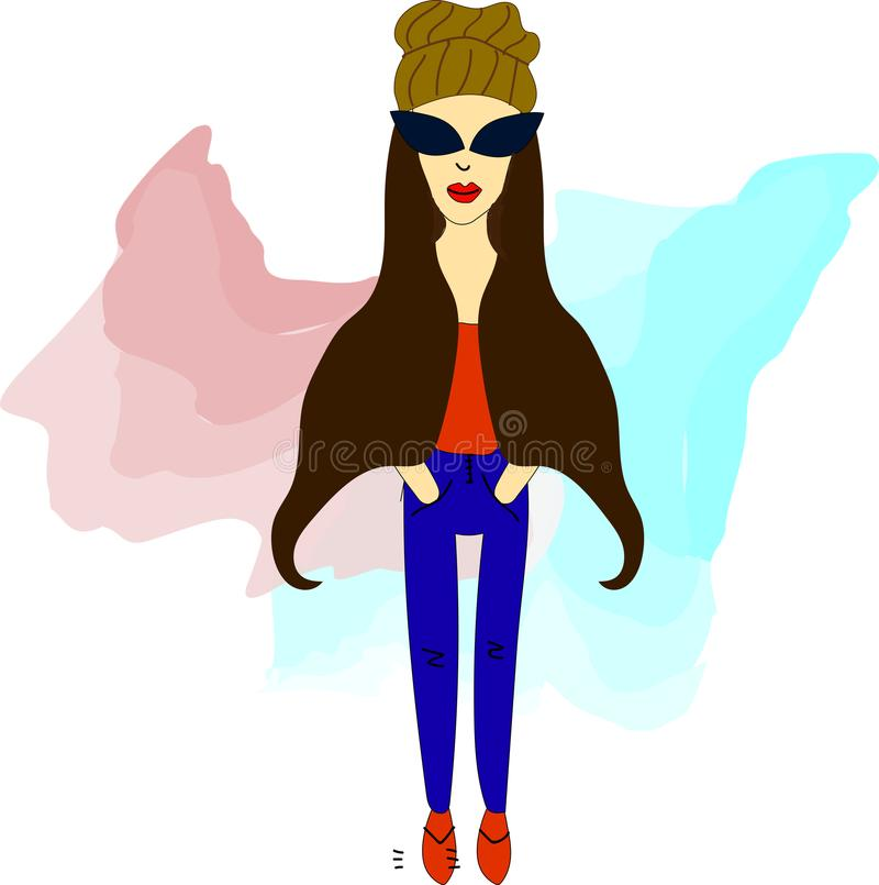 Girl hipster in glasses. Vector illustration with hipster girl, geek glasses, hat in flat style royalty free illustration