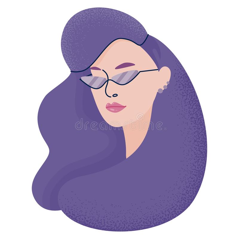 Vector illustration with hipster girl, geek glasses, hat in flat style. Vector illustration with girl in flat style. Website avatar or fashion blogger symbol stock illustration