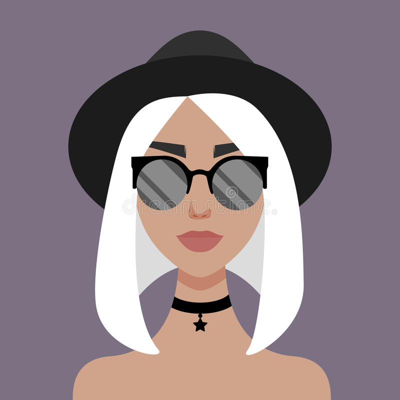 Vector illustration with hipster girl, geek glasses, hat in flat style. stock illustration