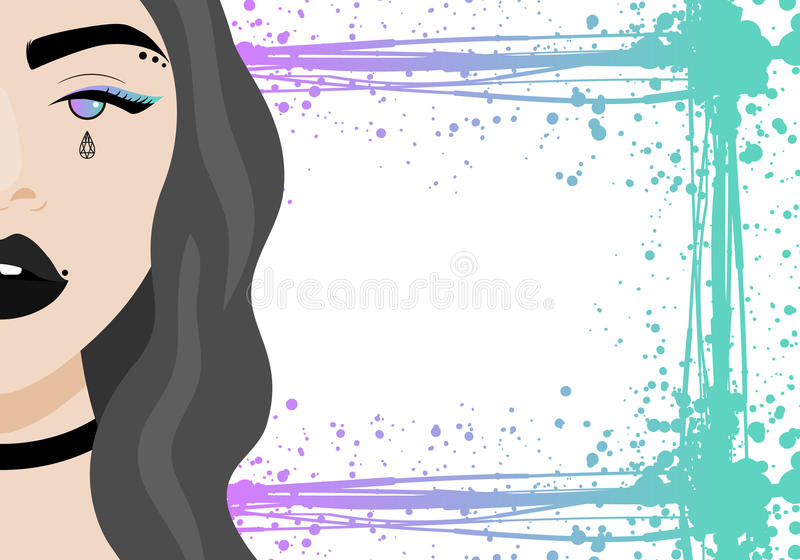 Vector illustration with hipster girl with piercing, tattoo, birthmark, choker royalty free illustration