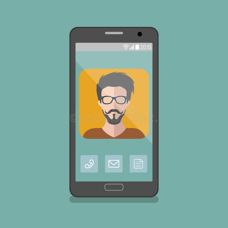 Vector illustration of hipster man app icon on smartphone display in flat style. Vector illustration of hipster man app icon on smartphone display in flat style stock illustration