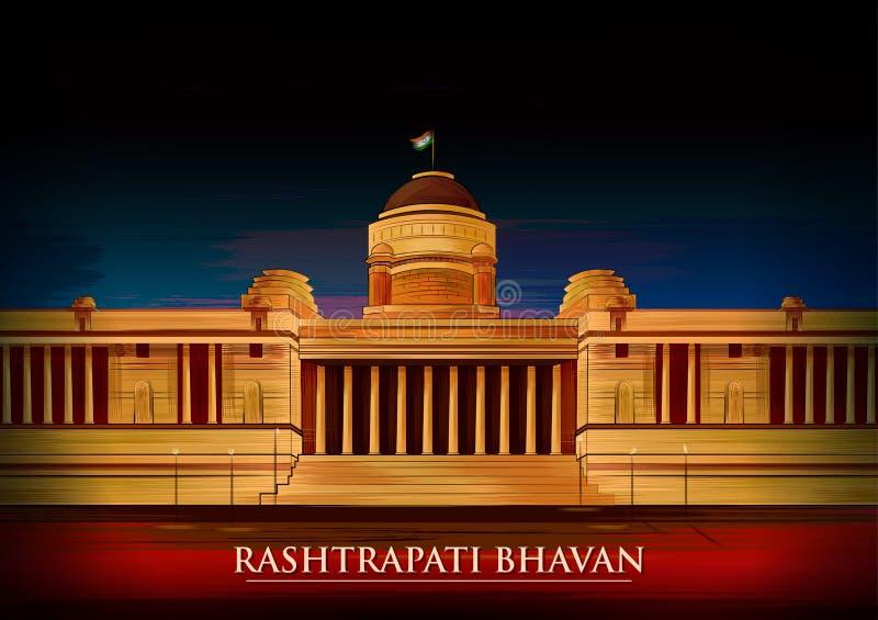Historical monument Rashtrapati Bhavan in New Delhi, India royalty free illustration