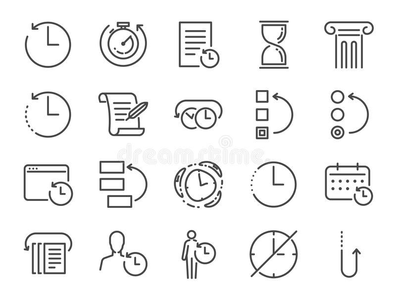 History and time management icon set. Included the icons as Anti-Aging, revert, time, reverse, u-turn, time machine, waiting, resc stock illustration