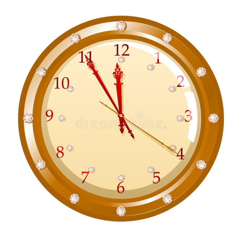 Vector illustration of holiday clock stock illustration