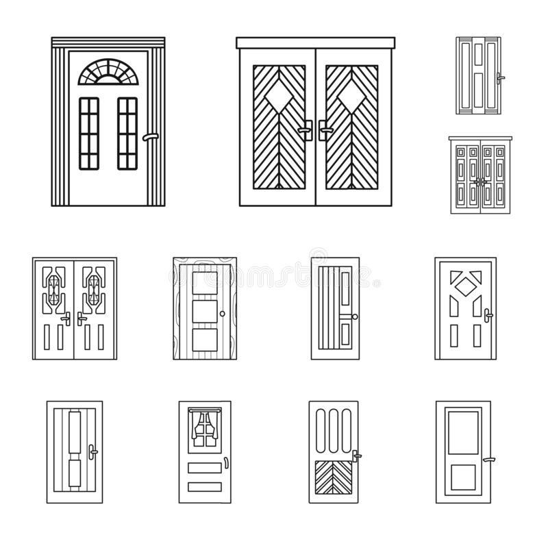 Vector illustration of home and design symbol. Collection of home and office stock vector illustration. royalty free illustration