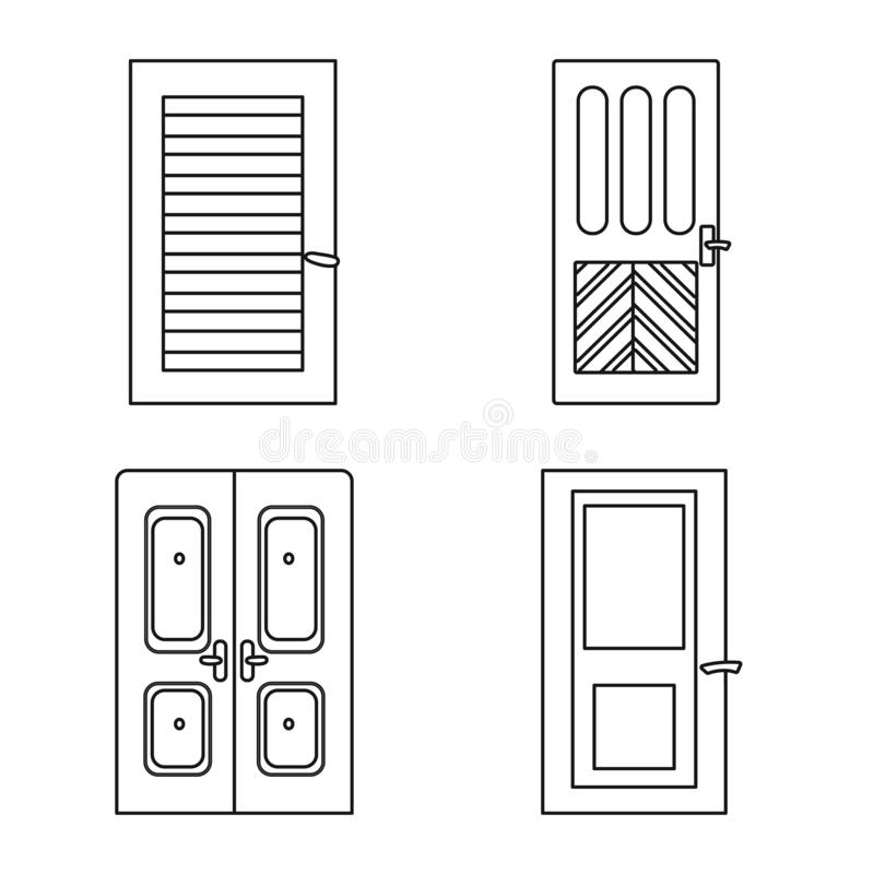 Vector illustration of home and design symbol. Collection of home and office stock vector illustration. stock illustration