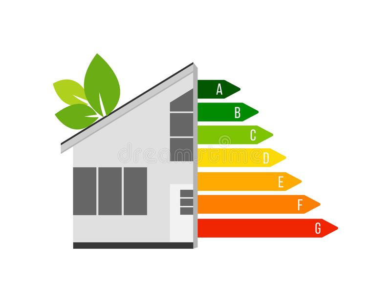 Vector illustration of home energy efficiency rating. Isolated on white background. Smart eco house improvement template vector illustration