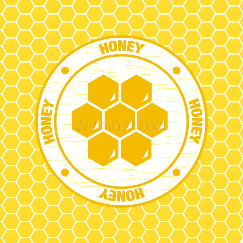 Vector illustration honey logotype natural food honeycomb royalty free illustration